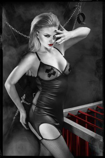 black suspender dress  DDEris001 + stockings - XXL