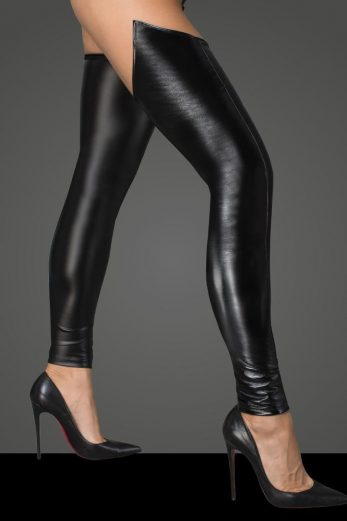 Lacquered eco leather and powerwetlook stockings F196 - L