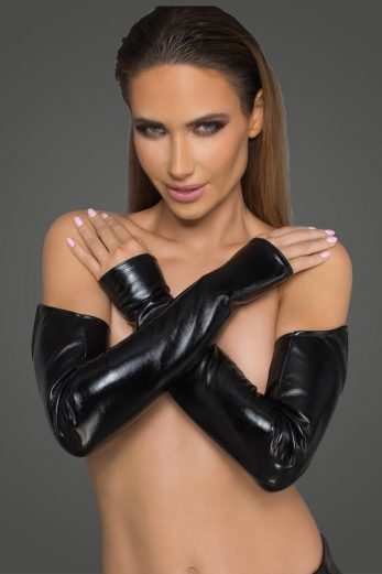 Lacquered eco leather and powerwetlook gloves F197 - 2XL/3XL