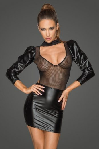 Powerwetlook and tulle dress F201 - 6XL