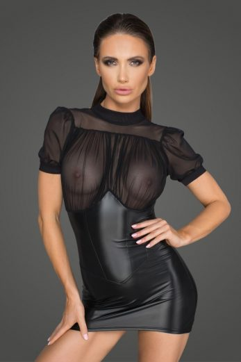 black wetlook minidress F204 - 6XL
