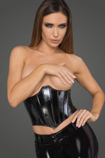 lacquered eco leather corset wit fishbones F211 by Noir Handmade Rebellious Collection