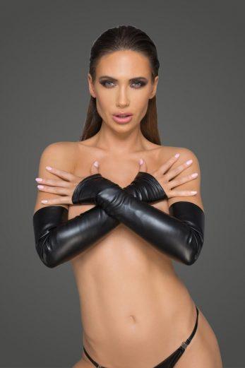 Elastic eco leather fingerless gloves F213 - 3XL