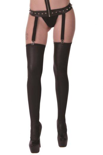 black Wetlook Stockings Bianca - T5/6