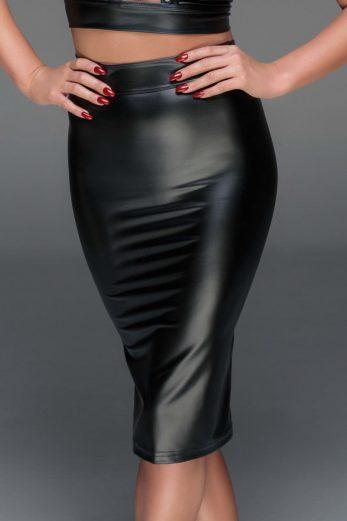 black Powerwetlook pencil skirt F152 - 6XL
