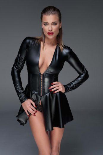 black Powerwetlook minidress with corset F154 - 6XL