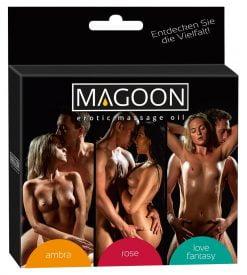 3 kpl eri tuoksuista hierontaöljyä - Magoon