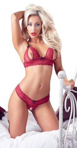 Punainen pitsi bikini setti