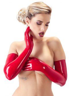 Punaiset latex käsineet